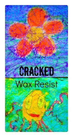 art activities for kids: cracked wax resist