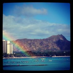 Rainbow at Waikiki beach in last summer.  Wow, amazing!!