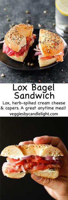 Lox Bagel Sandwich - A bagel sandwich layered with incredible ingredients. Lox, herb spiked cream cheese, capers, and onion. Making for a great meal anytime of the day Lox Recipe, Bagel Recipe, English Muffin Recipes, English Muffins, Bagel Sandwich, Sandwich Recipes, Clean Eating Recipes, Cooking Recipes, Healthy Recipes