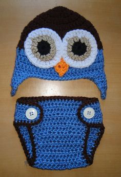 Newborn Baby Boy Crochet OWL Blue n Brown Diaper by shayahjane, $23.99
