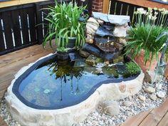 Mini pond - my beautiful garden forum Garden Pond Design, Backyard Garden Landscape, Ponds Backyard, Front Yard Landscaping, Above Ground Pond, Indoor Pond, Fish Pond Gardens, Mini Pond, Garden Forum