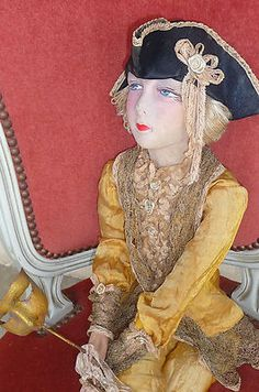 "Antique French Boudoir Doll Paris 1920 RARE ""Casanova"" Doll Hat Mask 