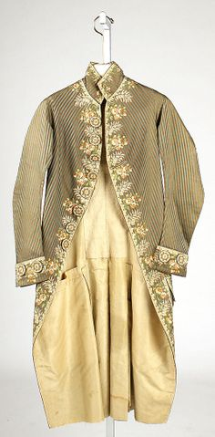 Coat  Date:     1775–90 Culture:     French Medium: Accession Number: C.I.66.14.1      silk Dimensions:     Length at CB: 43 in. (109.2 cm) Credit Line:     Purchase, Iren...