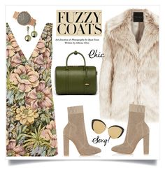 """""""Keep it Cozy: Fuzzy Coats"""" by alinepinkskirt ❤ liked on Polyvore featuring Topshop, Gianvito Rossi, MCM, Linda Farrow, BKE and Caterina Zangrando"""