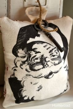 Mini Santa Pillow  Free Shipping on Christmas signs too!