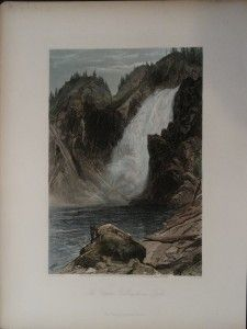 Hand colored steel plate engraving of The Upper Yellowstone Falls, by S. V. Hunt 1873.