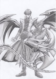 Seto Kaiba Art [ he sure loves his Blue Eyes White Dragon ] this is really well done! Credit to whoever made it! You did an amazing job! Digimon, Yu Gi Oh, Geeks, Manga Anime, Anime Art, Yugioh Monsters, White Dragon, Cool Sketches, Dragon Ball