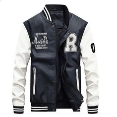 19b106fee8825 Yeni Erkekler Nakış Beyzbol Ceketler Mont Pu Faux Deri Slim Fit Fermuar  Casual Koleji Lüks Marka