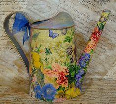 """Купить Ваза-лейка """"Paradise""""с худож.дорисовкой акрил.краск. - лейка, ваза, птички, цветы"""