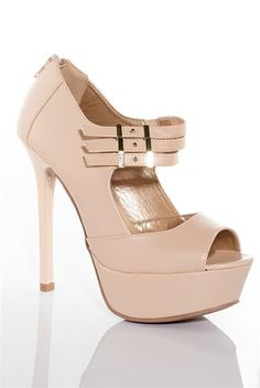 Beyond Bad Girl Triple Strap Peep Toe Pumps - Nude Qupid at Lucky 21