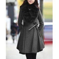 $51.49 Long Sleeves Fur Plunging Neck PU Leather Stitching Waistband Beam Waist Plicated Ruffles Ladylike Women's Coat