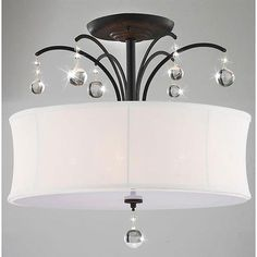 AXON Indoor 5-light Antique Bronze White Shade Flush Mount Chandelier
