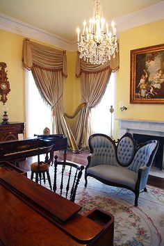 southern plantation interiors, living room with stairs - Google ...