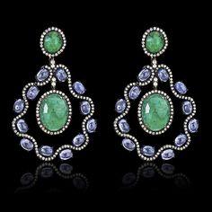 Color Me Happy Emerald, Tanzanite, Diamond Earrings - JYOTI  #color #happy #collection #emerald #tanzanite #diamond #earring #designer #JYOTI #couture #jewelry