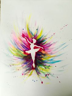 Colorful Ballerina watercolor beginner painting idea.  You don't need to be a professional artist to produce a work of art. You simply need to let your creative side shine with color and pure joy on a piece of canvas.