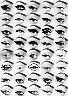 Different eyeliners and the overall look. Good reference for everyday and dramatic costume effects.