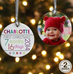 2 sided babys 1st christmas personalized age ornament adorable baby ornaments baby