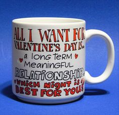 Vtg Russ Berrie Mug Valentines Day Gift Hearts Funny Saying One Night Stand #RussBerrie