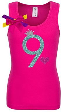 Bubblegum Divas Big Girls' 9th Birthday Hot Pink Princess Shirt 9-10. 9th Birthday tank top shirt made of high quality soft materials. Jade number nine with silver princess crown, and pink heart. 3D purple shoulder bow with yellow, purple and pink ribbons. 9yrs old Girls Birthday Shirt with Bright colors, Sparkle fabric applique, 3D shoulder bow. Perfect for Fiesta, Yearly Photos, Party Gift, Smash the Cake, Big Top Circus Theme, Theme Park Birthday Shirt, Disco Dance Party, Mermaid Party...