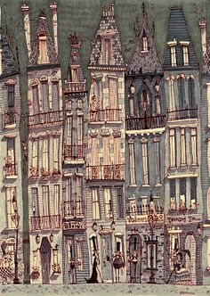 """cityscape, good artist to use to inspire students to add interesting details to their buildings without the pressure of """"perfect"""" in the details, nice illustrative quality."""