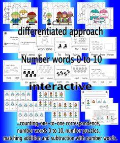 Numbers, Numbers preschool and Worksheets on Pinterest