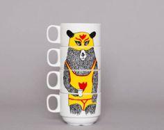 Coffret de 4 tasses de café Super Badger par jimbobart sur Etsy