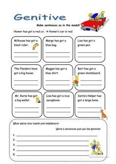 genitive Grammar For Kids, Blue Bags, Ruler, Sentences, Worksheets, How To Make, Esl, Learn English, Grammar