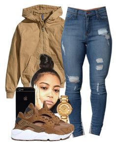 """Sylvie Finesse"" by trillest-fashion ❤ liked on Polyvore featuring H&M, Versace and NIKE"