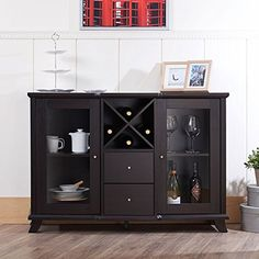 Provide storage and organization in your dining space with this contemporary dining buffet cabinet. This cabinet showcases a robust wooden construction for enduring quality and style. 2 shelved cabinets with glass fronts offer room to store and display dining ware. Outstanding features include a built in wine shelf and 2 full extension drawers on
