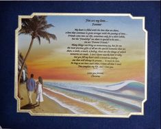 "Couple on Beach Romantic Poem in 11""x14"" Royal Blue Mat Frame #Handmade"