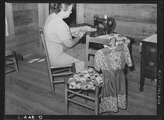 Coffee County, Alabama -- Mrs. L.L. LeCompt stitching quilt squares together. She does all her family sewing.  April, 1939