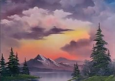 All the colors needed to do the painting 'Sunset Aglow' from 'The Joy of Painting' with Bob Ross. Viva Paper Towels, Bob Ross Paintings, The Joy Of Painting, Oil Painting Techniques, Green Sky, Dry Brushing, Beautiful Landscapes, Cool Drawings, Sunsets