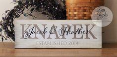 Family Name Sign, Etablished Sign, Personalized Name Plaque, Housewarming or Wedding Gift by 2ChicksAndABasket on Etsy https://www.etsy.com/listing/196717539/family-name-sign-etablished-sign