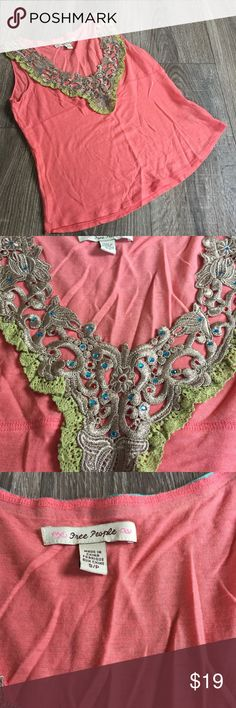 Free People Sequin Lace Tank Top Free People Tank Top. Blue and red sequins. Sz small S. Excellent condition. Free People Tops Tank Tops