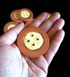 Ceramic red and yellow large round buttons. Sewing buttons. They were handmade by me, than fire in kiln. Than they were handpainted, glazed and fire again. They can be used... #supplies