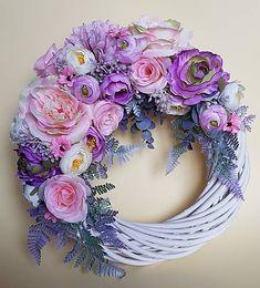 gerberis / romantický veniec ružovo-fialkový 34 cm