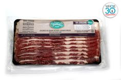 Ingredients: Pork, Water, Less Than 2%: Salt, Vinegar, Celery Powder. Yes, you read that right! Finally, there is a sugar free, paleo friendly, Whole30 Approved bacon available nationwide in Whole Foods. VA residents, you will have to order online.