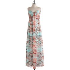 Branches of Beauty Dress (1.405 NOK) ❤ liked on Polyvore featuring dresses, floral, maxi dress, modcloth, flower printed dress, stretch maxi dress, floral maxi dress, maxi slip dresses and ruched dress
