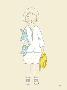 Illustration petite fille  Céleste  par laptitemadeleine sur Etsy, $22,00