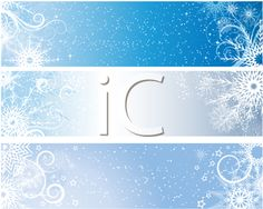 iCLIPART - Winter themed banners with snowflakes and stars