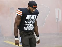 Cleveland Browns wide receiver Andrew Hawkins wears a shirt calling attention to the police shooting of Tamir Rice before an NFL football game against the Cincinnati Bengals Sunday, Dec. 14, 2014, in Cleveland.