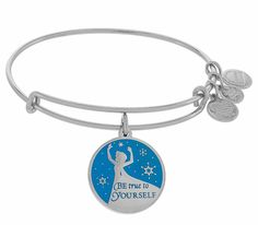 """Be True to Yourself"" with Elsa on this Alex and Ani charm bracelet. - Adjustable - Available in silver or gold finish - Made in USA"