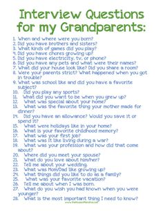 Interview questions for kids to ask grand parents or great-grandparents!