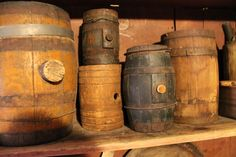 Kegs filled with different beer. Everyone gets a beer mug Primitive Furniture, Primitive Antiques, Seo And Sem, Wooden Staff, Churning Butter, Old Country Stores, Primitive Gatherings, Antique Shops, Crate And Barrel