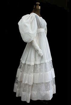 Romantic period cotton dress, c.1830 (vintagetextile.com)