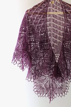 Purple hand knit lace shawl wrap 100 wool by LizaKolesnik on Etsy
