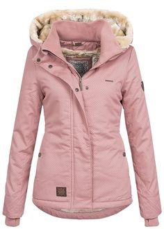 e915682e0ed2da Aiki Damen Winter Jacke Kapuze Teddyfell 2 Taschen Daumenloch Punkte Muster  rosa - 77onlineshop Winterjacke Damen