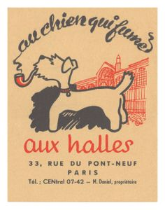 Au Chien Qui Fume 1950s Paris Cool Culinaria USA Vintage Menu Print – Cool Culinaria USA