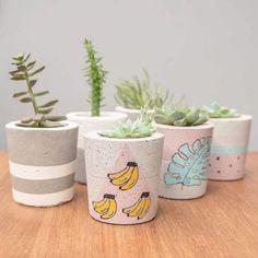 Uma boa dica para personalizar seu vaso de cimento é utilizar tintas Painted Plant Pots, Painted Flower Pots, Rock Crafts, Diy And Crafts, Pots D'argile, Diys, Beton Design, Concrete Crafts, Diy Planters