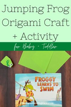 We used the simple folding instructions from Red Ted Art to create jumping frogs to go along with a Froggy book. #JumpingFrog #OrigamiFrog #OrigamiCraft #FrogBooks #ToddlerActivities